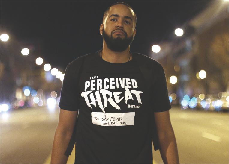 """2nd place: Julie Tripp, Brandcenter student Dorado Quick on his campaign called """"Perceived Threat,"""" which addresses societal misperceptions and labels."""