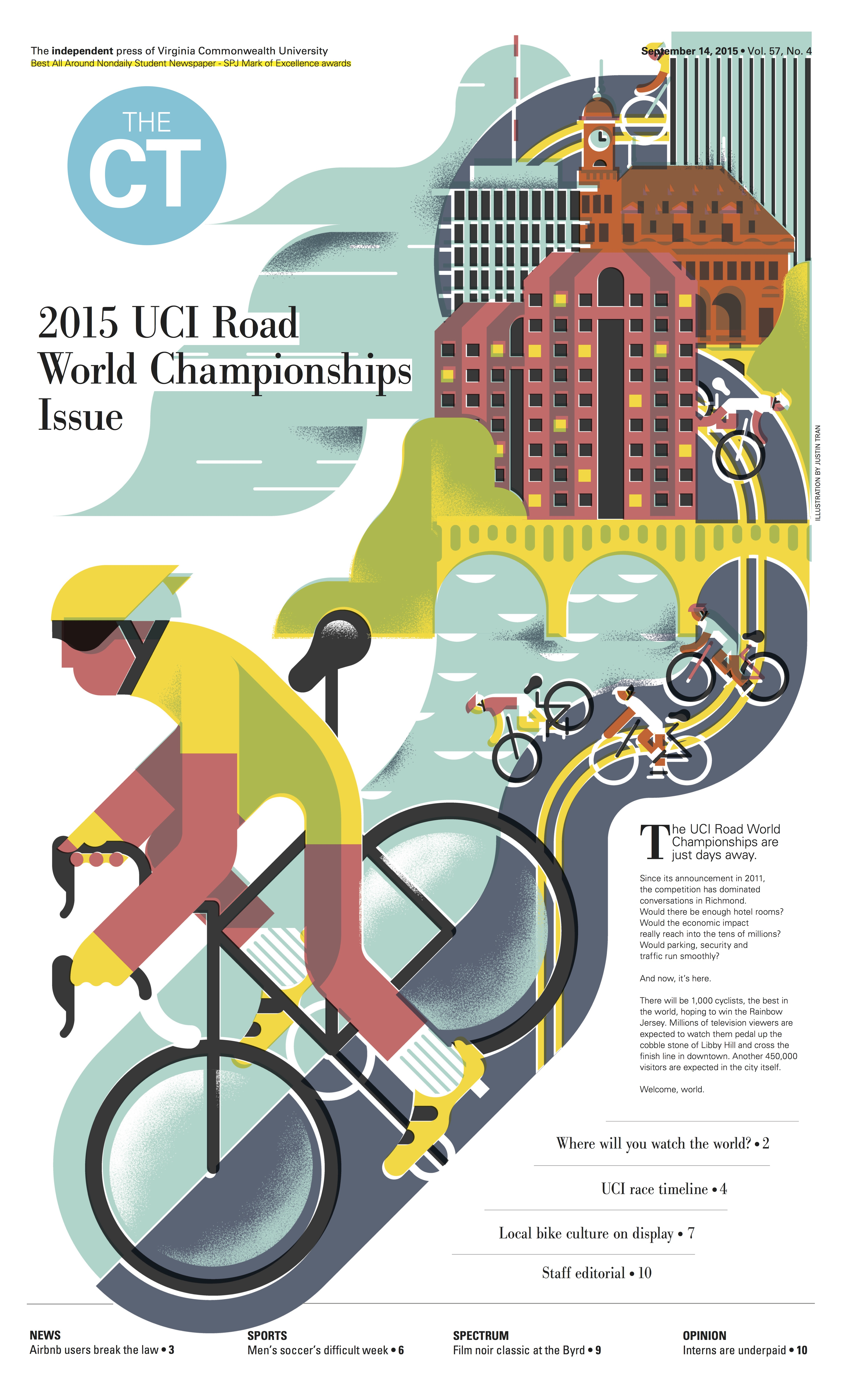 2nd place: Justin Tran (illustration), Shannon Wright and Sarah King (art direction) and Miranda Leung (graphic design), Sept. 14 issue previewing the UCI Road World Championships.